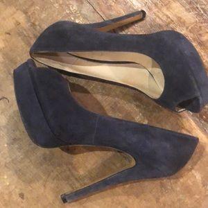 Blue Suede Peep Toes 👀